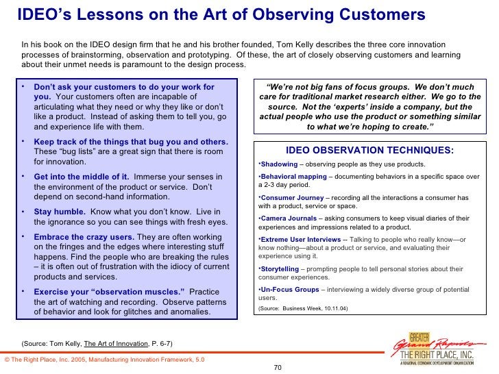 IDEO's Lessons on the Art of Observing Customers <ul><li>Don't ask your customers to do your work for you.   Your customer...