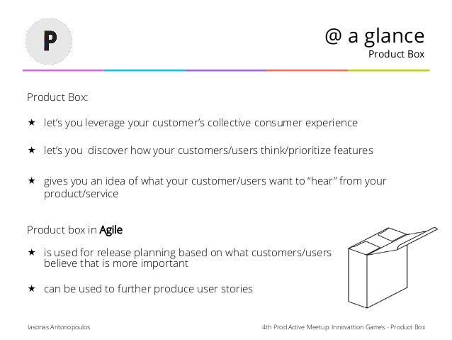 4th Prod.Active Meetup: Innovattion Games - Product BoxIasonas Antonopoulos @ a glance Product Box Product Box:  let's yo...