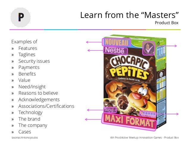 """4th Prod.Active Meetup: Innovattion Games - Product BoxIasonas Antonopoulos Learn from the """"Masters"""" Product Box Examples ..."""