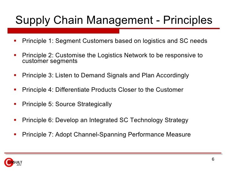 seven principles of supply chain management The topic of supply chain management (scm) is complex to understand because   [7] conclude that scm has been poorly  but relate to similar core principles.
