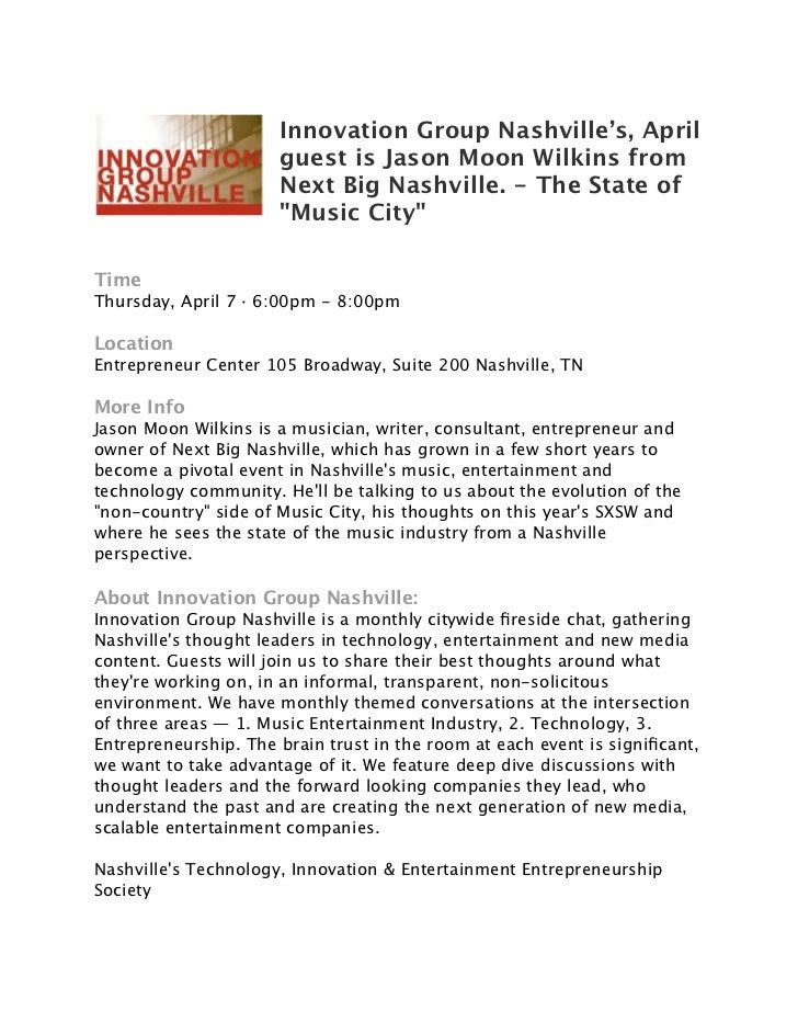 Innovation Group Nashville's, April                      guest is Jason Moon Wilkins from                      Next Big Na...