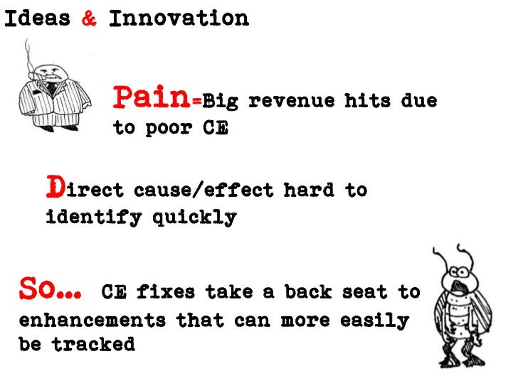 Pain=Big revenue hits due to poor CE<br />Direct cause/effect hard to identify quickly<br />So…CE fixes take a back seat t...