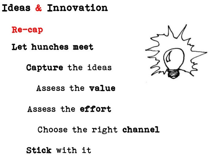 Re-cap<br />Let hunches meet<br />Capture the ideas<br />Assess the value<br />Assess the effort<br />Choose the right cha...