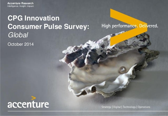 Accenture Research  Intelligence. Insight. Impact.  CPG Innovation Consumer Pulse Survey: Global October 2014