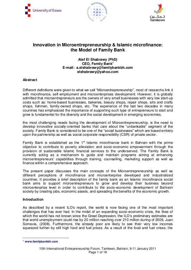 Innovation in Microentrepreneurship & Islamic microfinance: the Model of Family Bank Atef El Shabrawy (PhD) CEO, Family Ba...