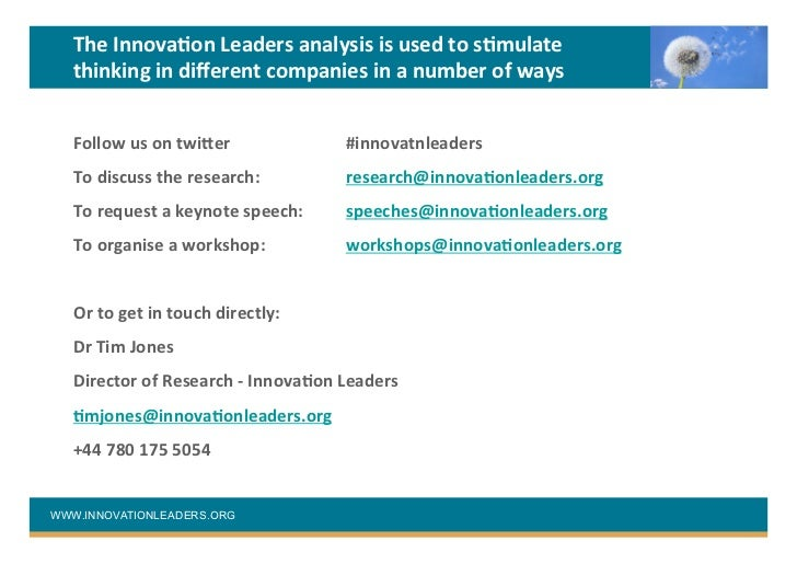 analysis of leaders in innovation In this paper, an analysis would be conducted pertaining to vineet nayar, successful ceo of hlc technologies the analysis will highlight the skills and behaviors of this leader and others and how they prepare their organizations to be more innovative not only will this paper highlight the global .