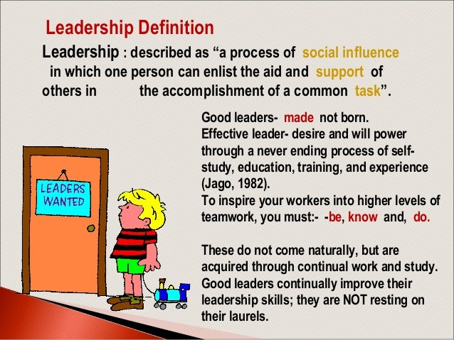 leadership and definition Learn about different management styles and their importance in business see the advantages and differences between the transformational leadership style and transactional leadership style.