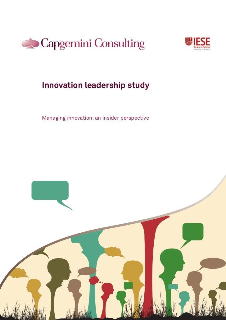 Innovation leadership studyManaging innovation: an insider perspective