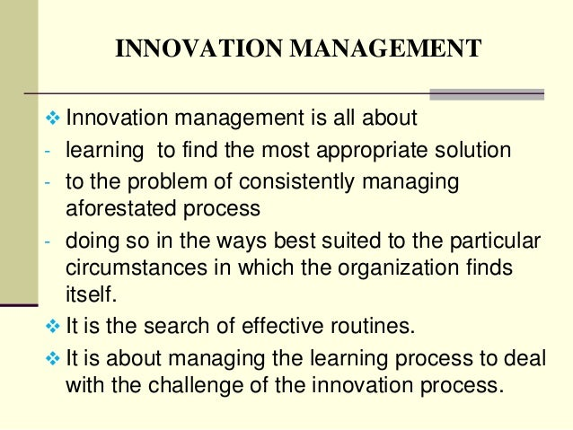 Innovation and Strategic Management