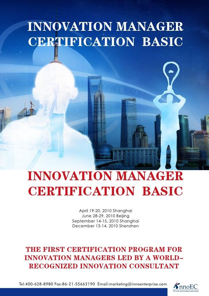 INNOVATION MANAGER    CERTIFICATION BASIC        INNOVATION MANAGER    CERTIFICATION BASIC                             Apr...