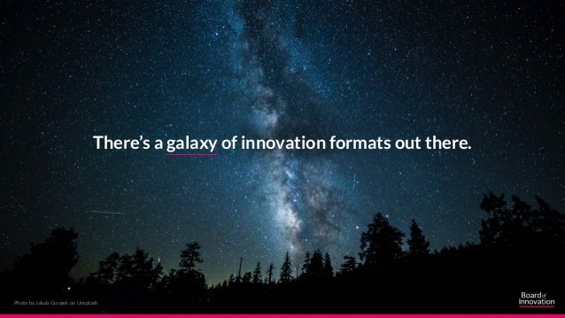 Photo by Jakub Gorajek on Unsplash There's a galaxy of innovation formats out there.
