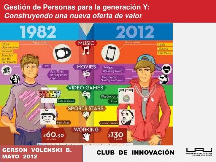 Gestión de Personas para la generación Y:Construyendo una nueva oferta de valorGERSON VOLENSKI B.                         ...
