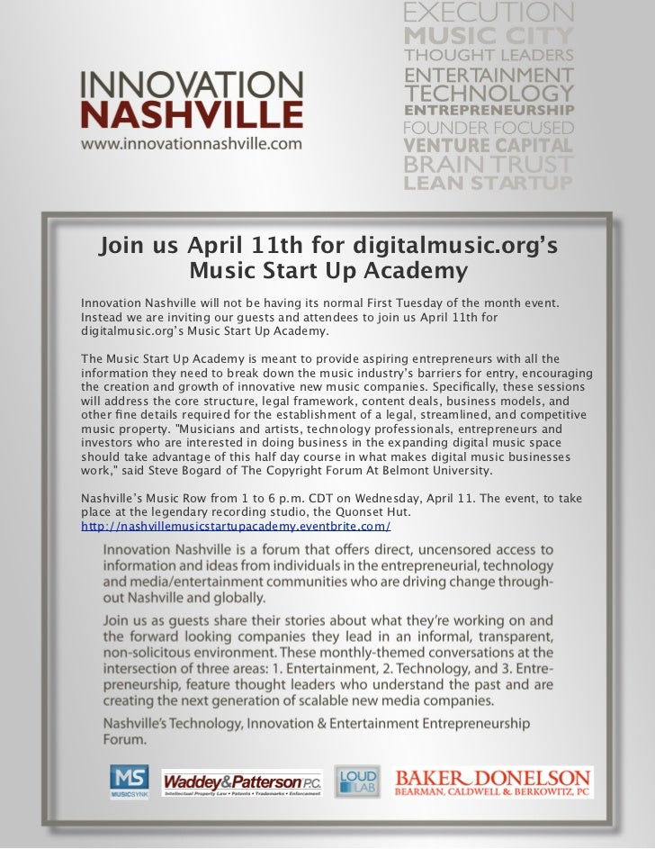 Join us April 11th for digitalmusic.org's           Music Start Up AcademyInnovation Nashville will not be having its norm...