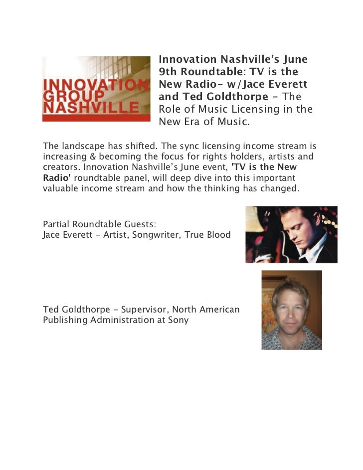 Innovation Nashville's June                           9th Roundtable: TV is the                           New Radio- w/Jac...
