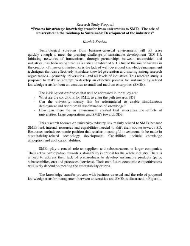"""Research Study Proposal """"Process for strategic knowledge transfer from universities to SMEs: The role of universities in t..."""