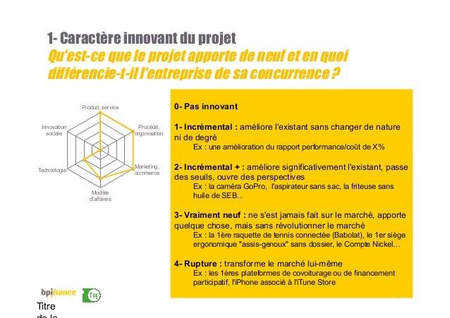 13 Titre 1- Caractère innovant du projet Qu'est-ce que le projet apporte de neuf et en quoi différencie-t-il l'entreprise ...