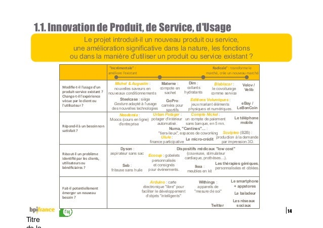 14 Titre 1.1. Innovation de Produit, de Service, d'Usage Le projet introduit-il un nouveau produit ou service, une amélior...
