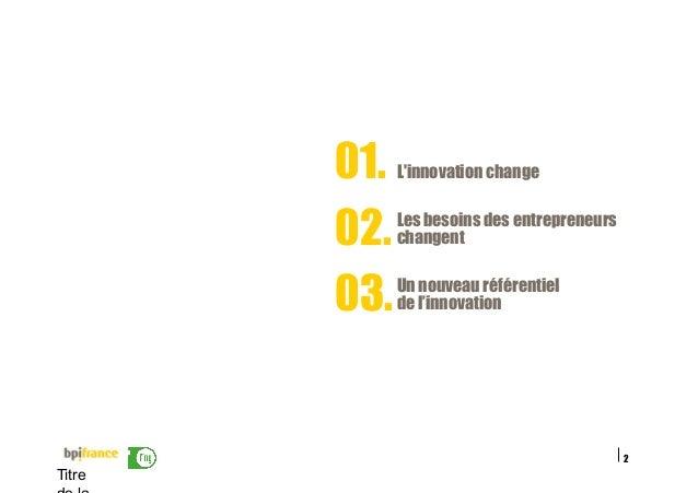 2 Titre Les besoins des entrepreneurs changent02. L'innovation change01. Un nouveau référentiel de l'innovation03.