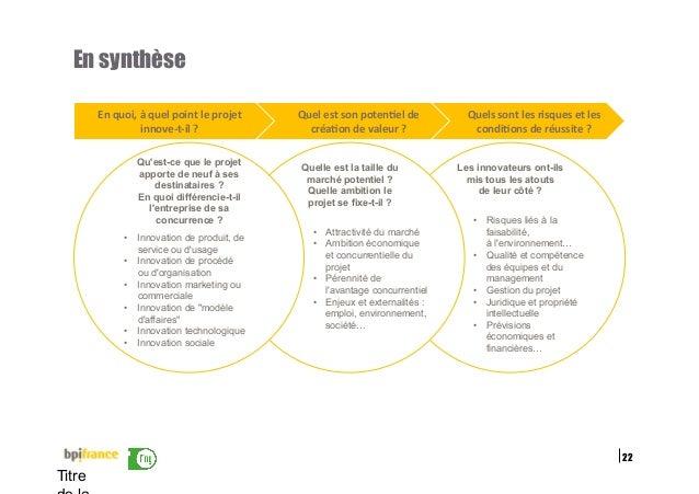 22 Titre En synthèse Les innovateurs ont-ils mis tous les atouts de leur côté ? • Risques liés à la faisabilité, à l'envi...