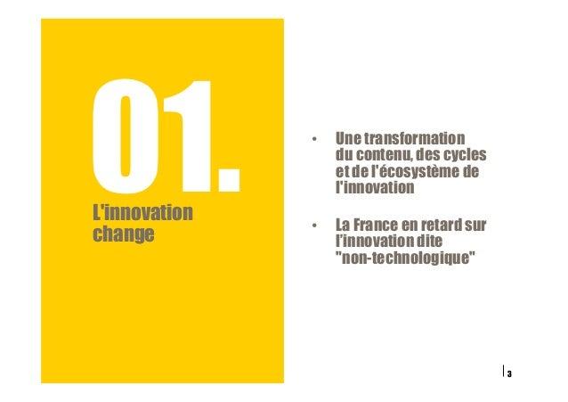 01.L'innovation change 3 • Une transformation du contenu, des cycles et de l'écosystème de l'innovation • La France en r...