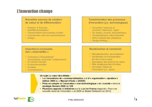 PRELIMINAIRE L'innovation change 5 Un sujet au cœur des débats : • Les innovations de « commercialisation » et d'« organi...