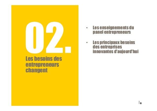 02.Les besoins des entrepreneurs changent 6 • Les enseignements du panel entrepreneurs • Les principaux besoins des entr...