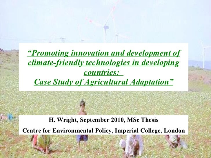 """""""Promoting innovation and development of climate-friendly technologies in developing                 countries:   Case Stu..."""