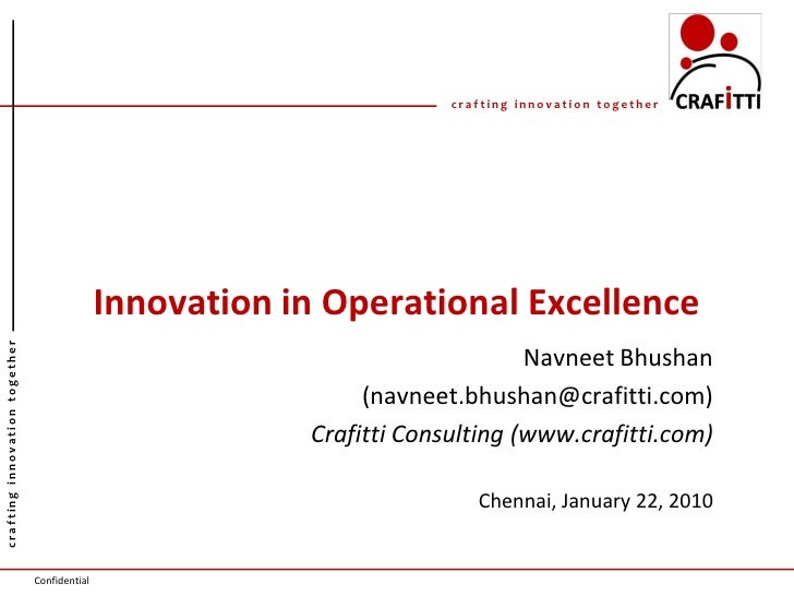 crafting innovation together                                                   Innovation in Operational Excellence crafti...