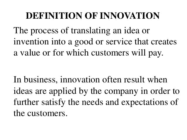 definition of innovation in business pdf