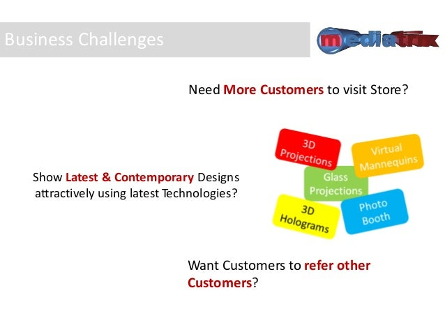 Business Challenges Need More Customers to visit Store? Show Latest & Contemporary Designs attractively using latest Techn...