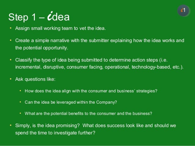11 • Assign small working team to vet the idea. • Create a simple narrative with the submitter explaining how the idea wor...