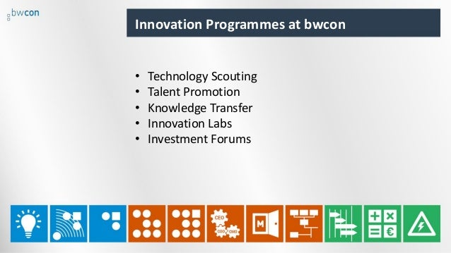 Innovation Programmes at bwcon • Technology Scouting • Talent Promotion • Knowledge Transfer • Innovation Labs • Investmen...