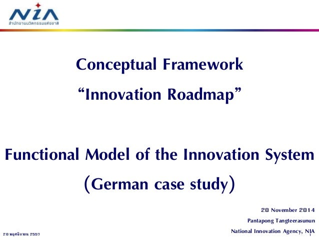 "1  20 พฤศจิกายน 2557  20 November 2014 Pantapong Tangteerasunun National Innovation Agency, NIA  Conceptual Framework ""Inn..."