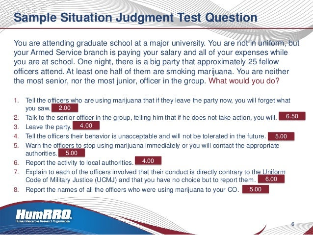 Situational judgement test sample questions