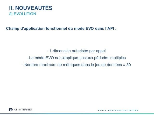 Champ d'application fonctionnel du mode EVO dans l'API : - 1 dimension autorisée par appel - Le mode EVO ne s'applique pas...