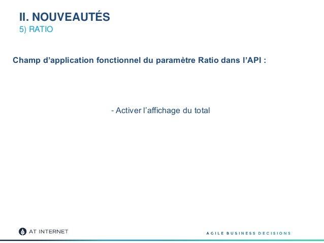 Champ d'application fonctionnel du paramètre Ratio dans l'API : - Activer l'affichage du total 5) RATIO II. NOUVEAUTÉS