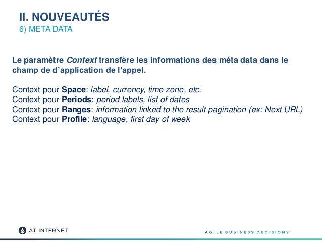 6) META DATA Le paramètre Context transfère les informations des méta data dans le champ de d'application de l'appel. Cont...