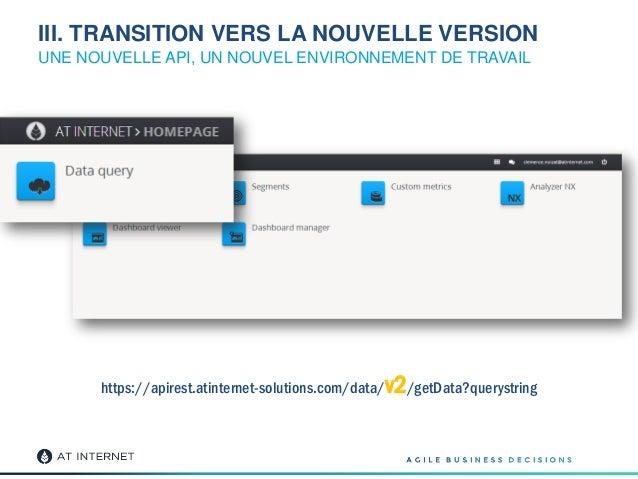 III. TRANSITION VERS LA NOUVELLE VERSION UNE NOUVELLE API, UN NOUVEL ENVIRONNEMENT DE TRAVAIL https://apirest.atinternet-s...