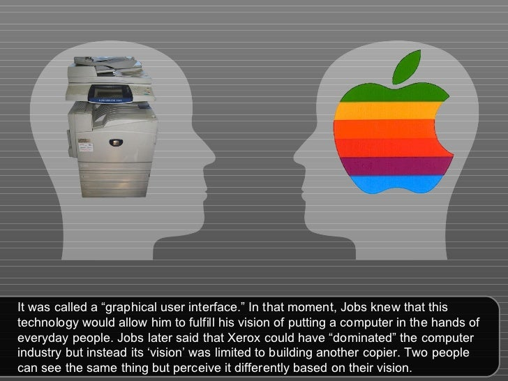 """It was called a """"graphical user interface."""" In that moment, Jobs knew that this technology would allow him to fulfill his ..."""