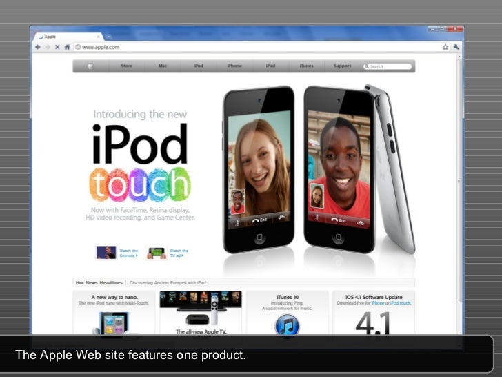 The Apple Web site features one product.