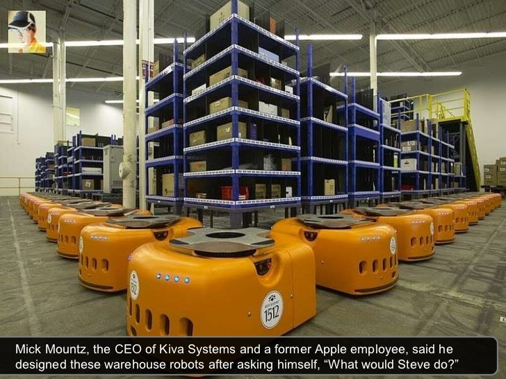 Mick Mountz, the CEO of Kiva Systems and a former Apple employee, said he designed these warehouse robots after asking him...