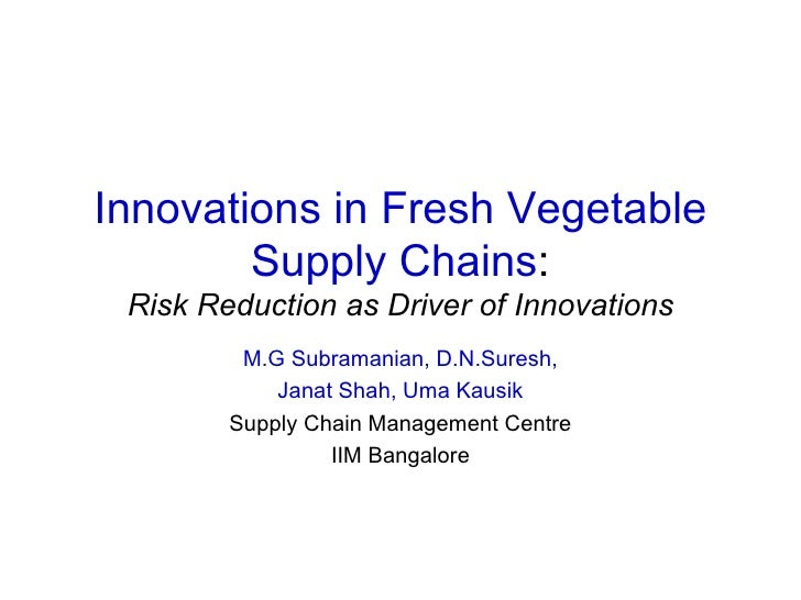 Innovations in Fresh Vegetable Supply Chains : Risk Reduction as Driver of Innovations M.G Subramanian, D.N.Suresh, Janat ...