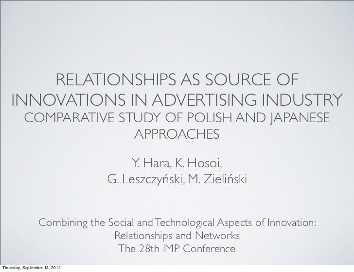 RELATIONSHIPS AS SOURCE OF    INNOVATIONS IN ADVERTISING INDUSTRY          COMPARATIVE STUDY OF POLISH AND JAPANESE       ...