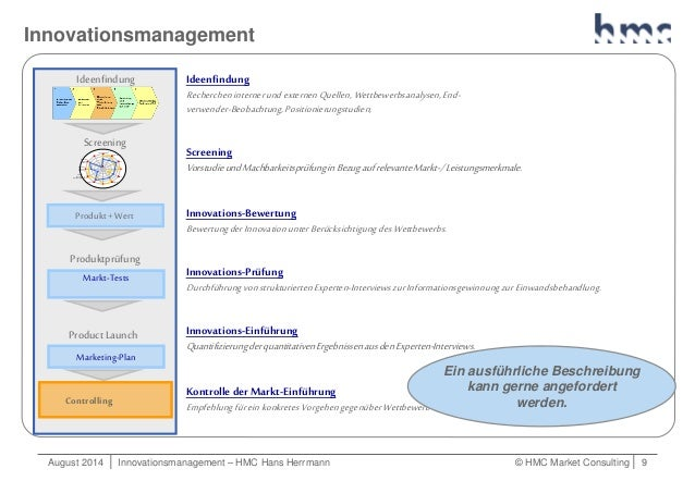 August 2014   Innovationsmanagement – HMC Hans Herrmann © HMC Market Consulting   9 Innovationsmanagement Ideenfindung Rec...