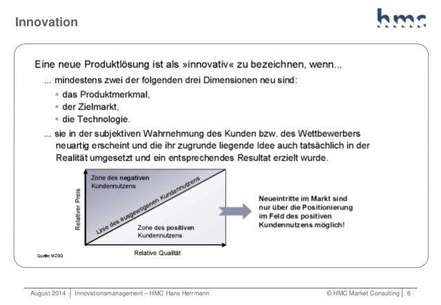 August 2014   Innovationsmanagement – HMC Hans Herrmann © HMC Market Consulting   6 Innovation