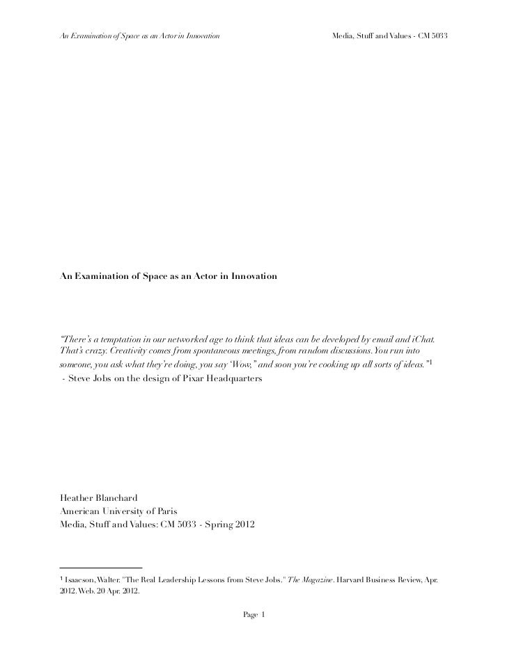 An Examination of Space as an Actor in Innovation                             Media, Stuff and Values - CM 5033An Examinat...