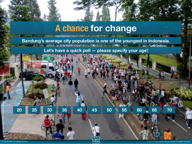 A chance for change  Bandung's average city population is one of the youngest in Indonesia.  3  Let's have a quick poll — ...