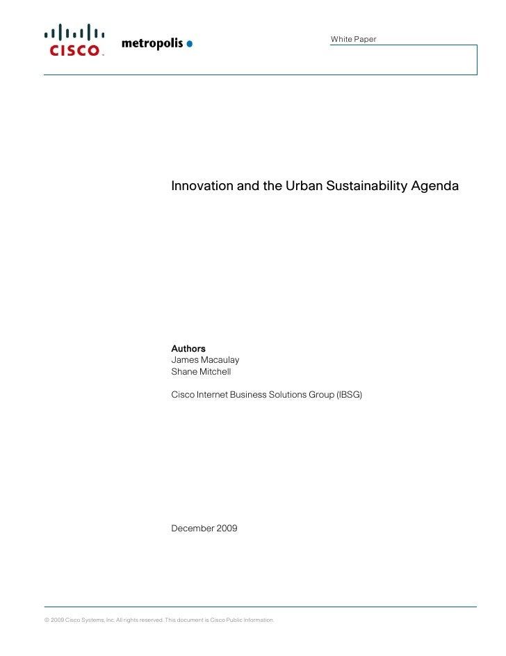 White Paper                                                      Innovation and the Urban Sustainability Agenda           ...