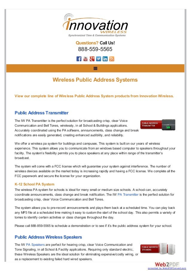 Questions? Call Us! 888-559-5565 View our complete line of Wireless Public Address System products from Innovation Wireles...