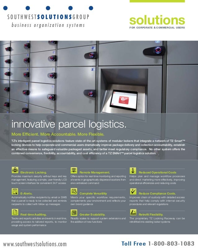 solutions  FOR CORPORATE & COMMERCIAL USERS  innovative parcel logistics.  More Efficient. More Accountable. More Flexible...